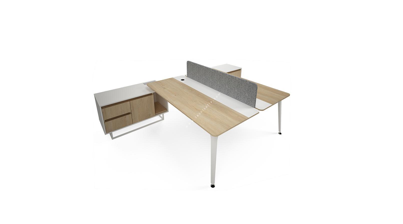 centrawork kumaş seperatör ikili etajerli  personel masası 180cm
