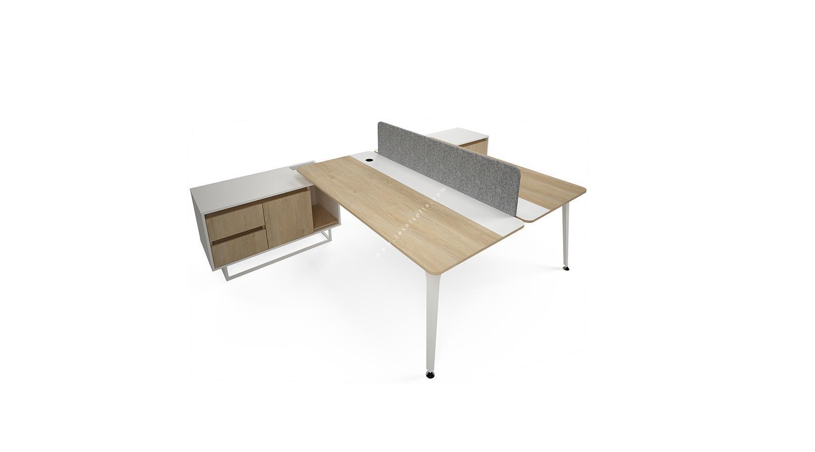 centrawork kumaş seperatör ikili etajerli  personel masası 200cm