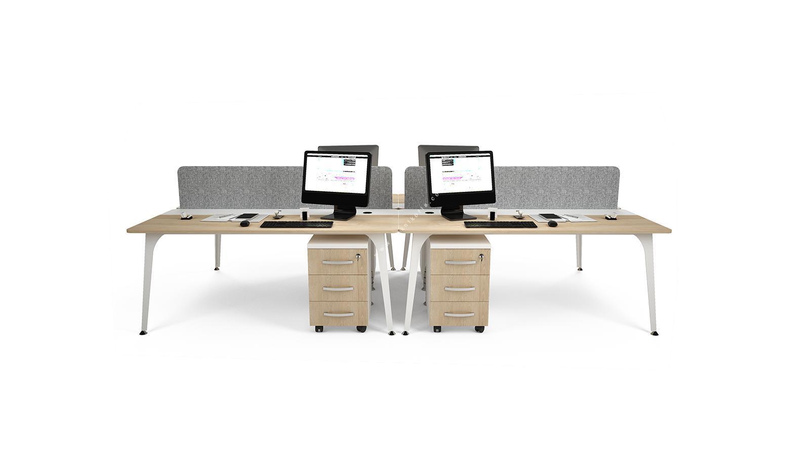 centrawork kumaş seperatörlü dörtlü çalışma masası 320cm