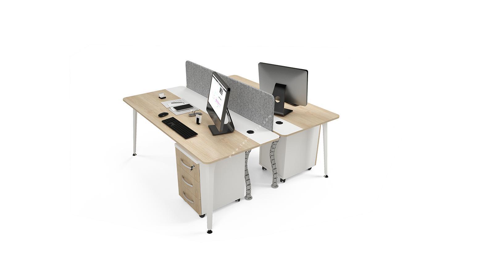 centrawork kumaş seperatörlü ikili çalışma masası 140cm