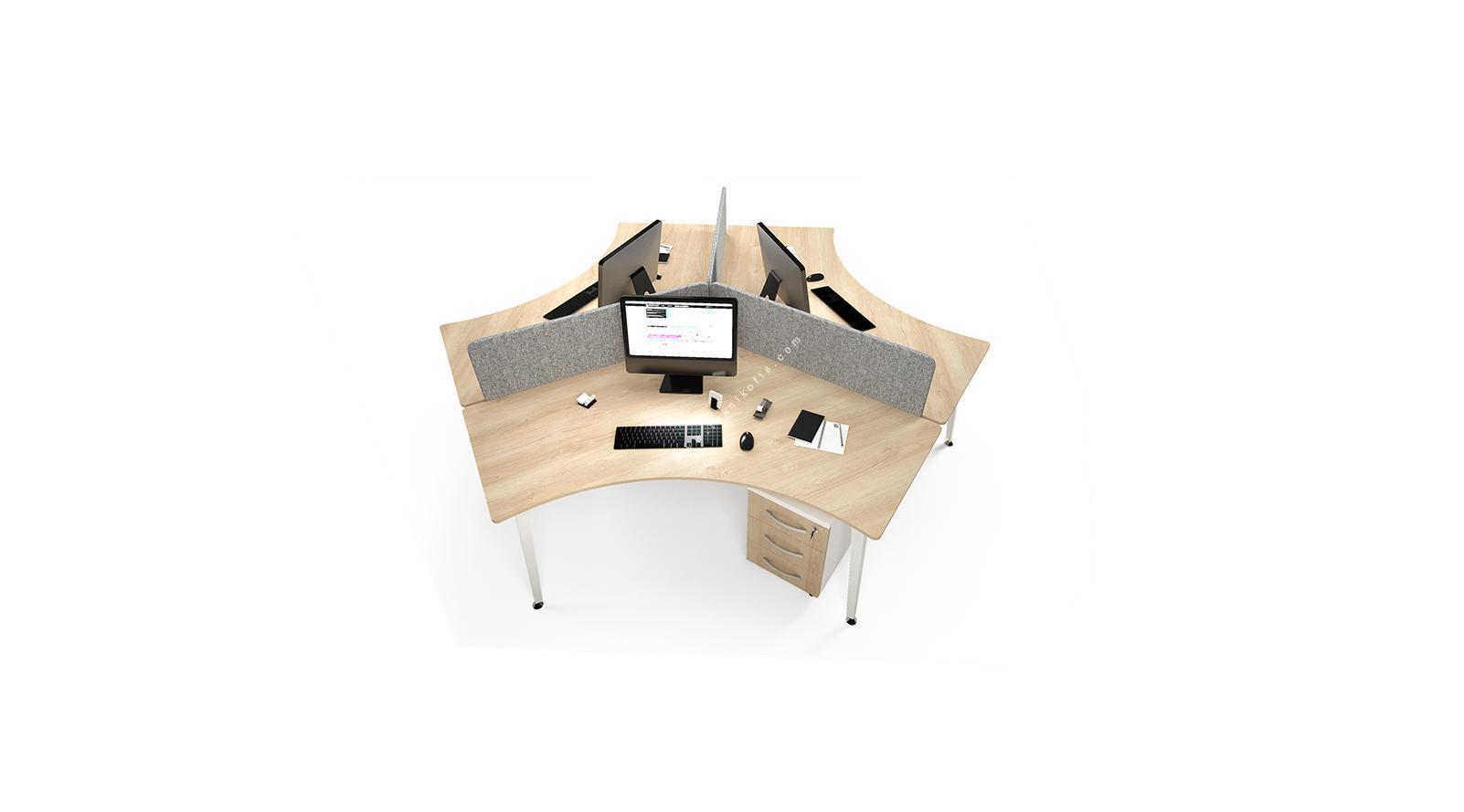 centrawork kumaş seperatörlü üçlü çalışma masası