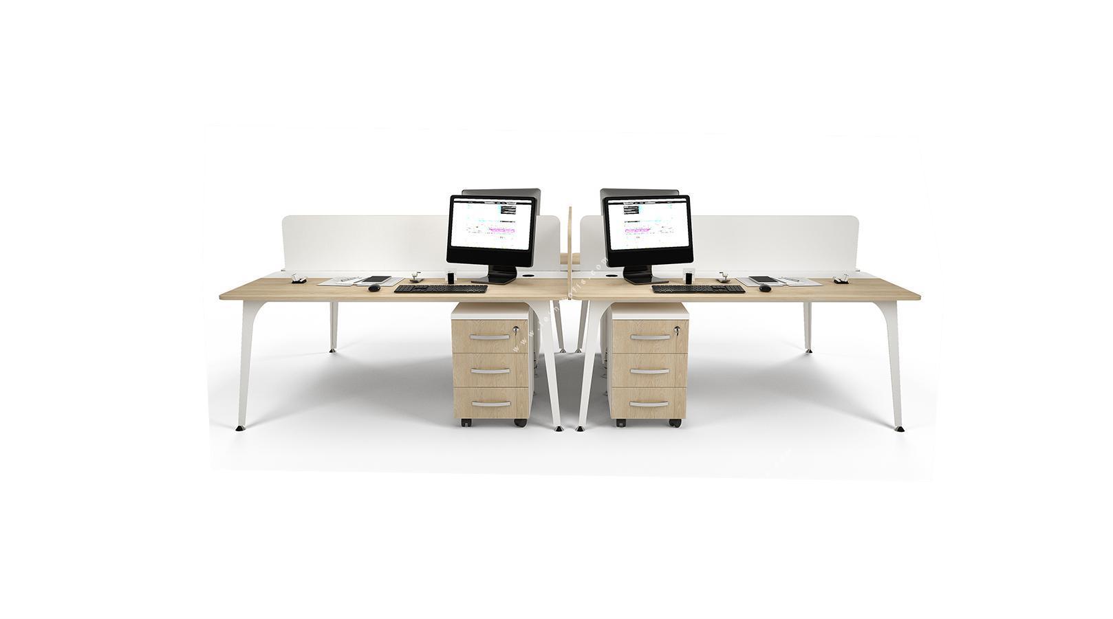 centrawork melamin seperatörlü dörtlü çalışma masası 320cm