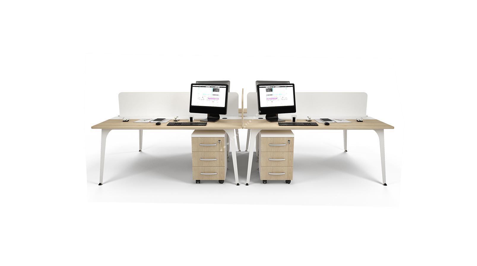 centrawork melamin seperatörlü dörtlü çalışma masası 360cm