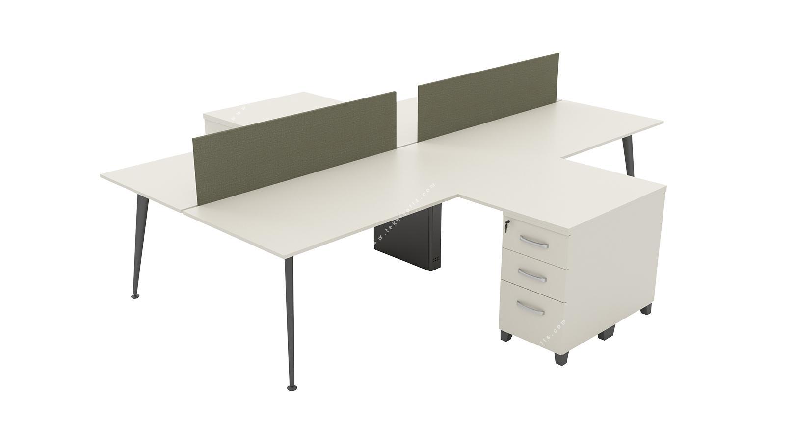 danielwork l masalı dörtlü workstation 360cm