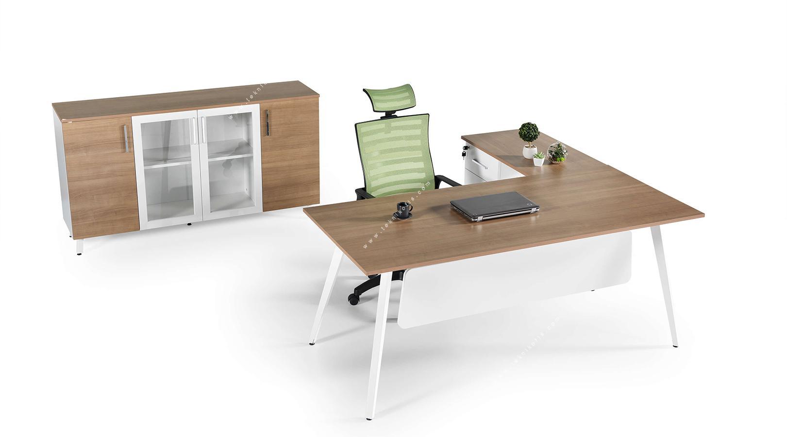 fanova etajerli ofis mobilyası 180cm