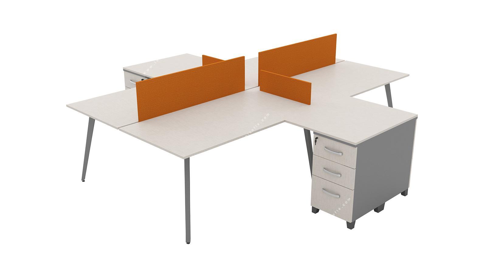 fanovawork l masalı dörtlü workstation 360cm