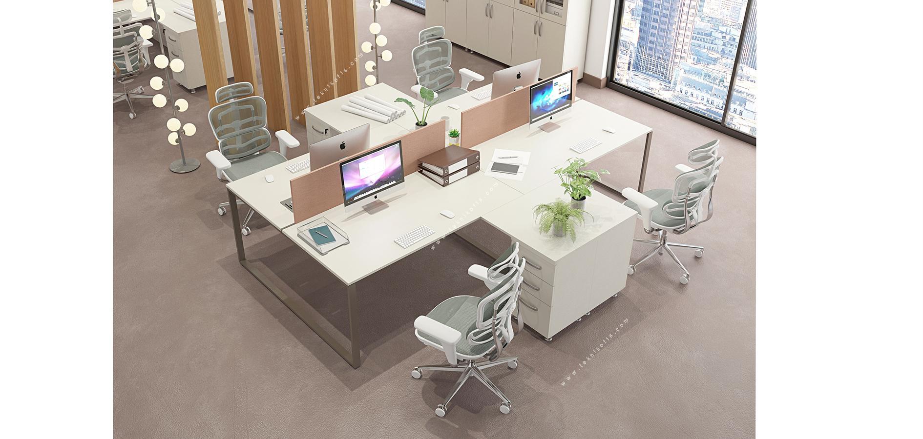 graver l masalı dörtlü workstation 360cm