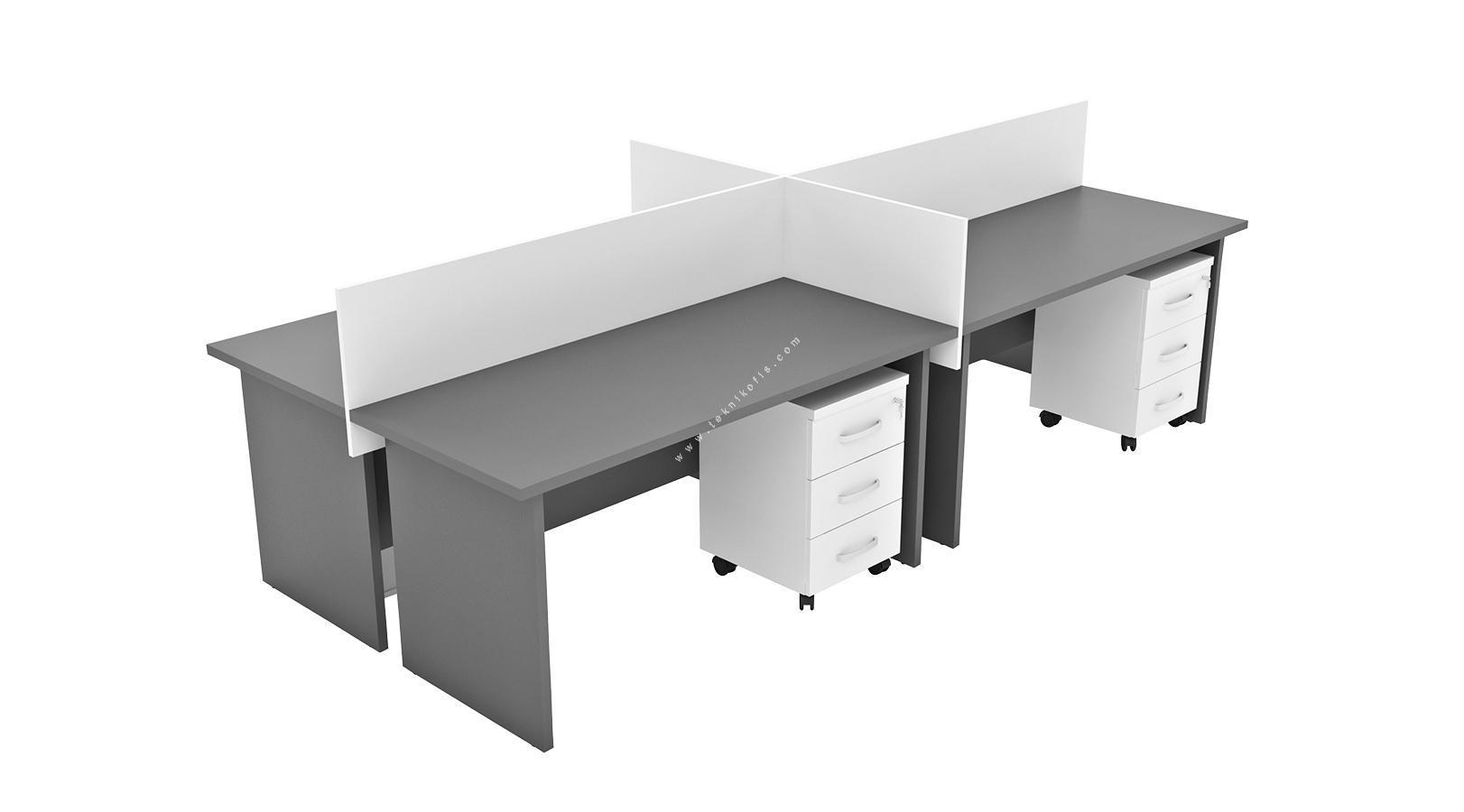 hegamonwork dörtlü workstation 360cm