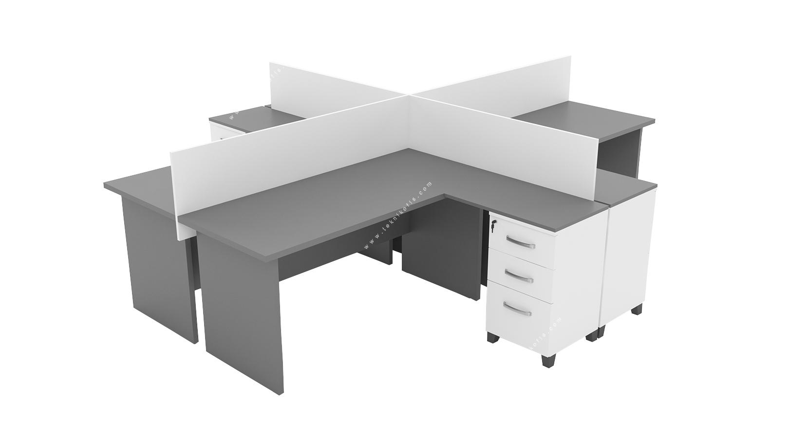 hegamonwork l masalı dörtlü workstation 280cm