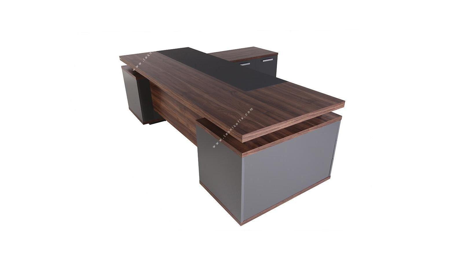 makron sağ etajerli makam masası 240cm