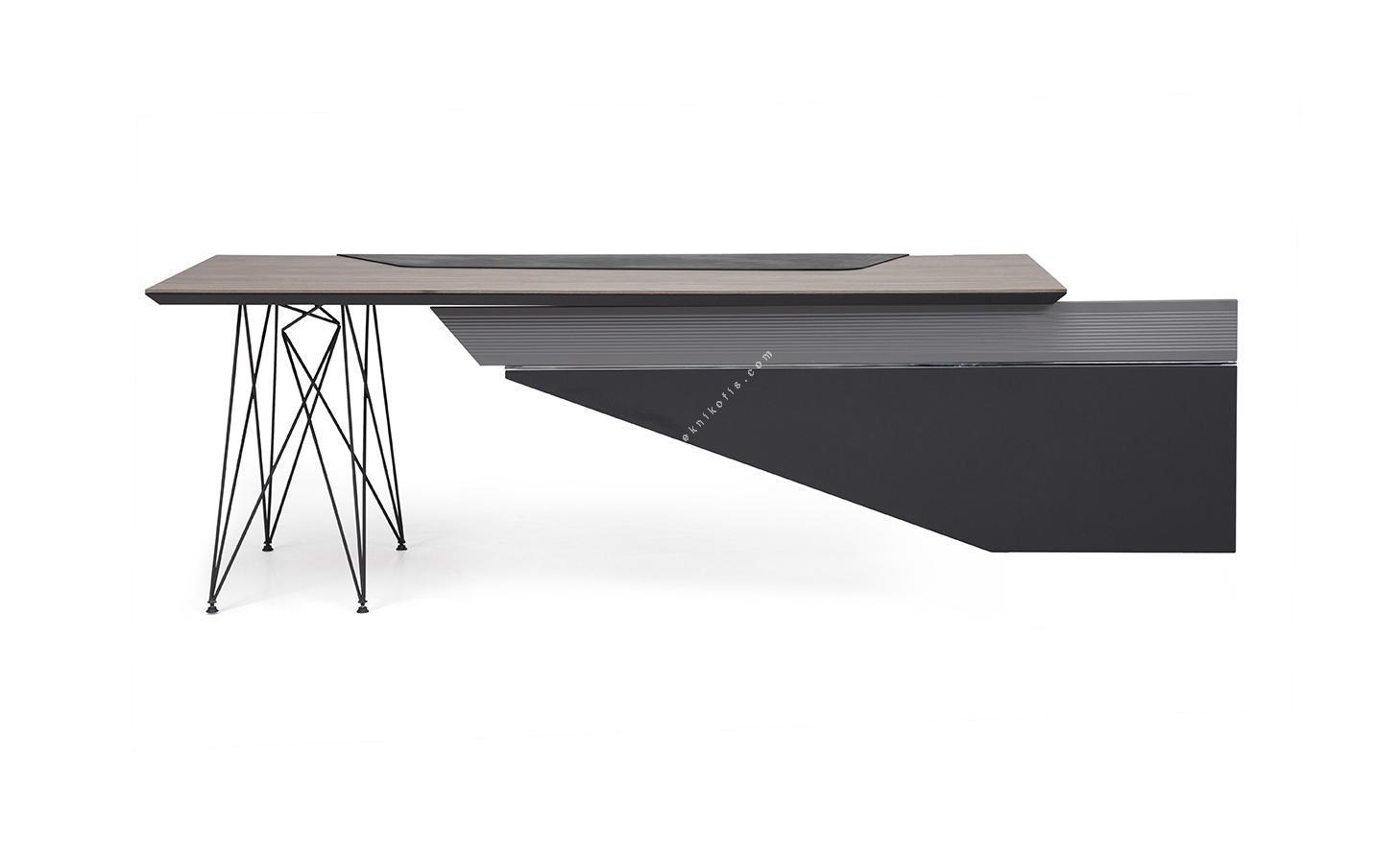 megal sol etajerli yönetici masası