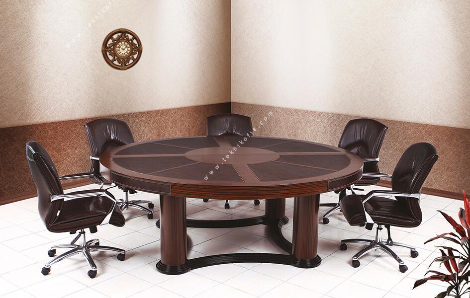 mikanos deri sümenli yuvarlak ahşap toplantı masası 170q