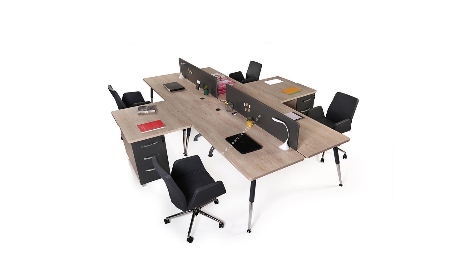nario 320cm dörtlü masa melamin seperatör