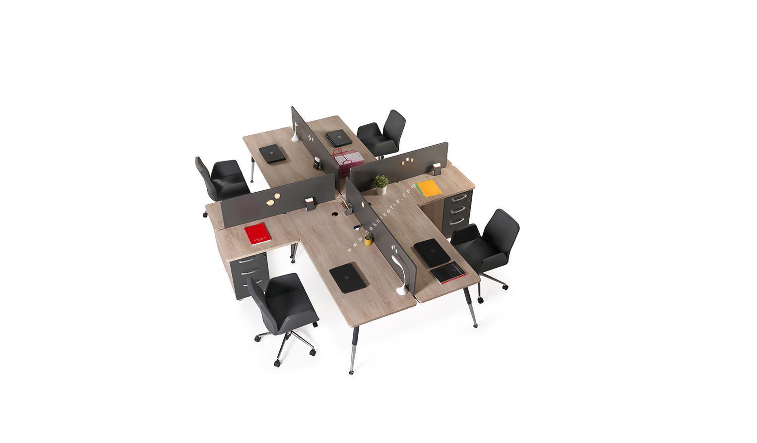 nario 322cm dörtlü masa melamin seperatör