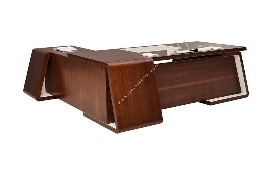 oblong cilalı ahşap makam masası