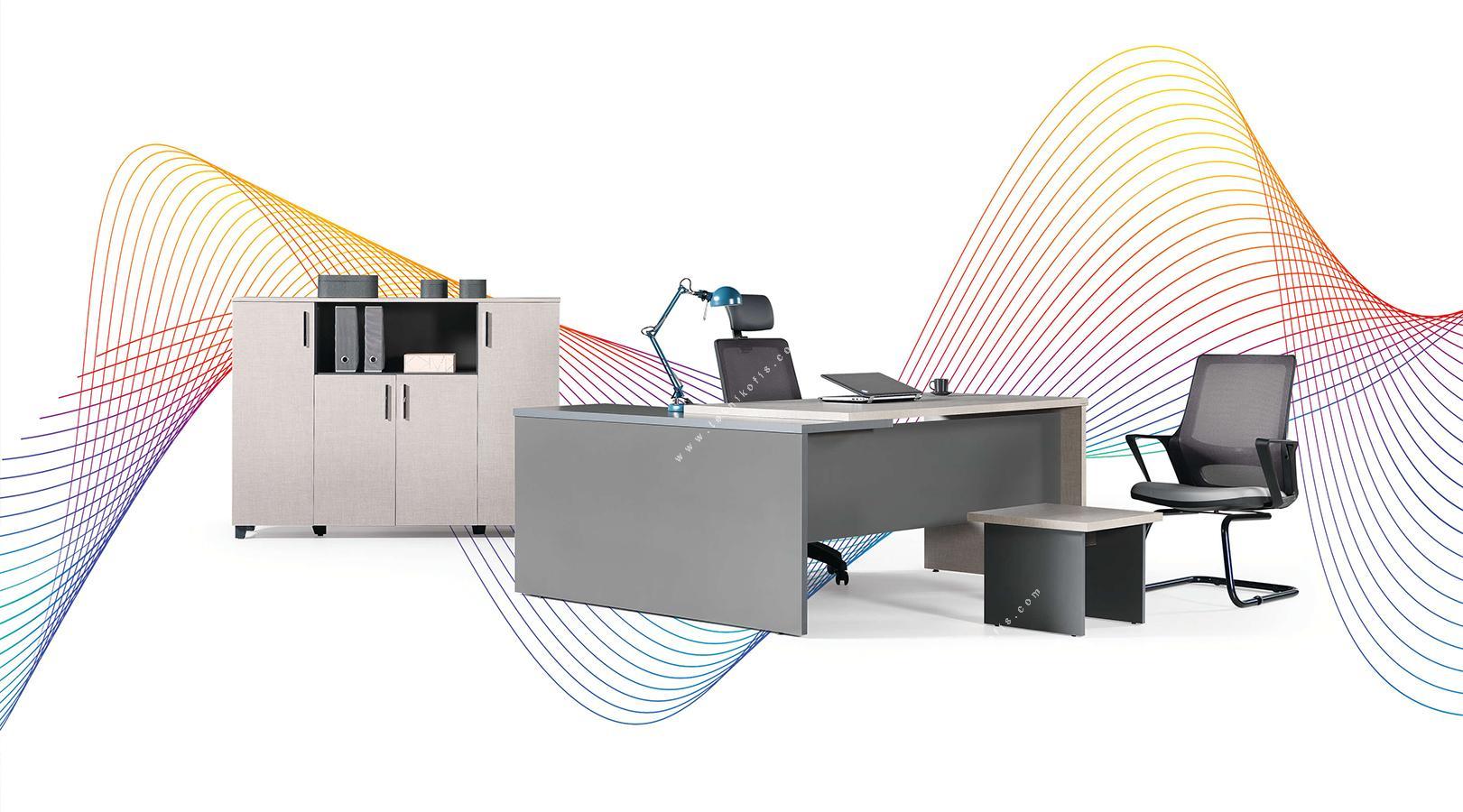 penarti etajerli ofis mobilyası 200cm