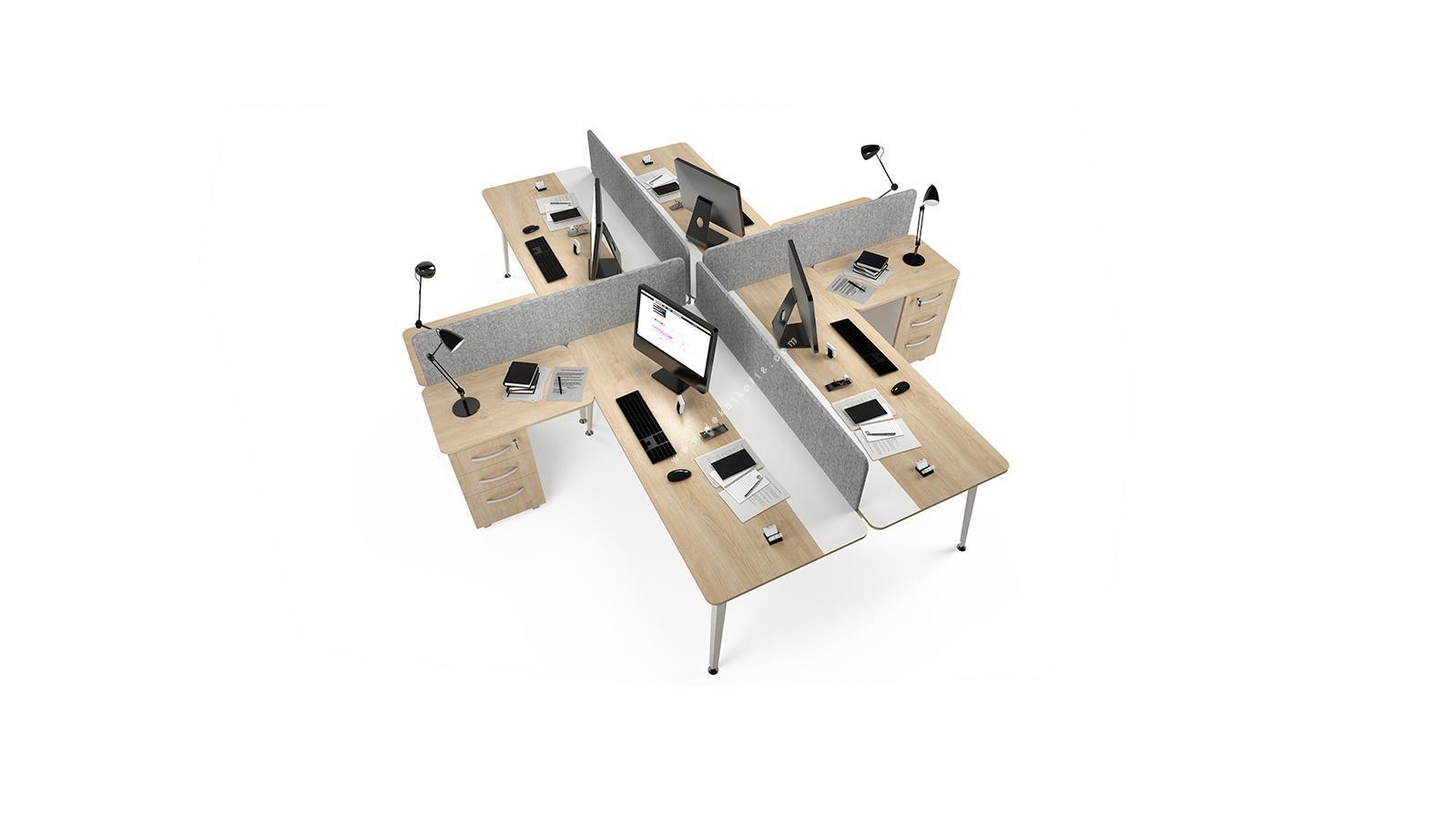 rediste kumaş seperatörlü etajerli dörtlü çalışma masası 282cm