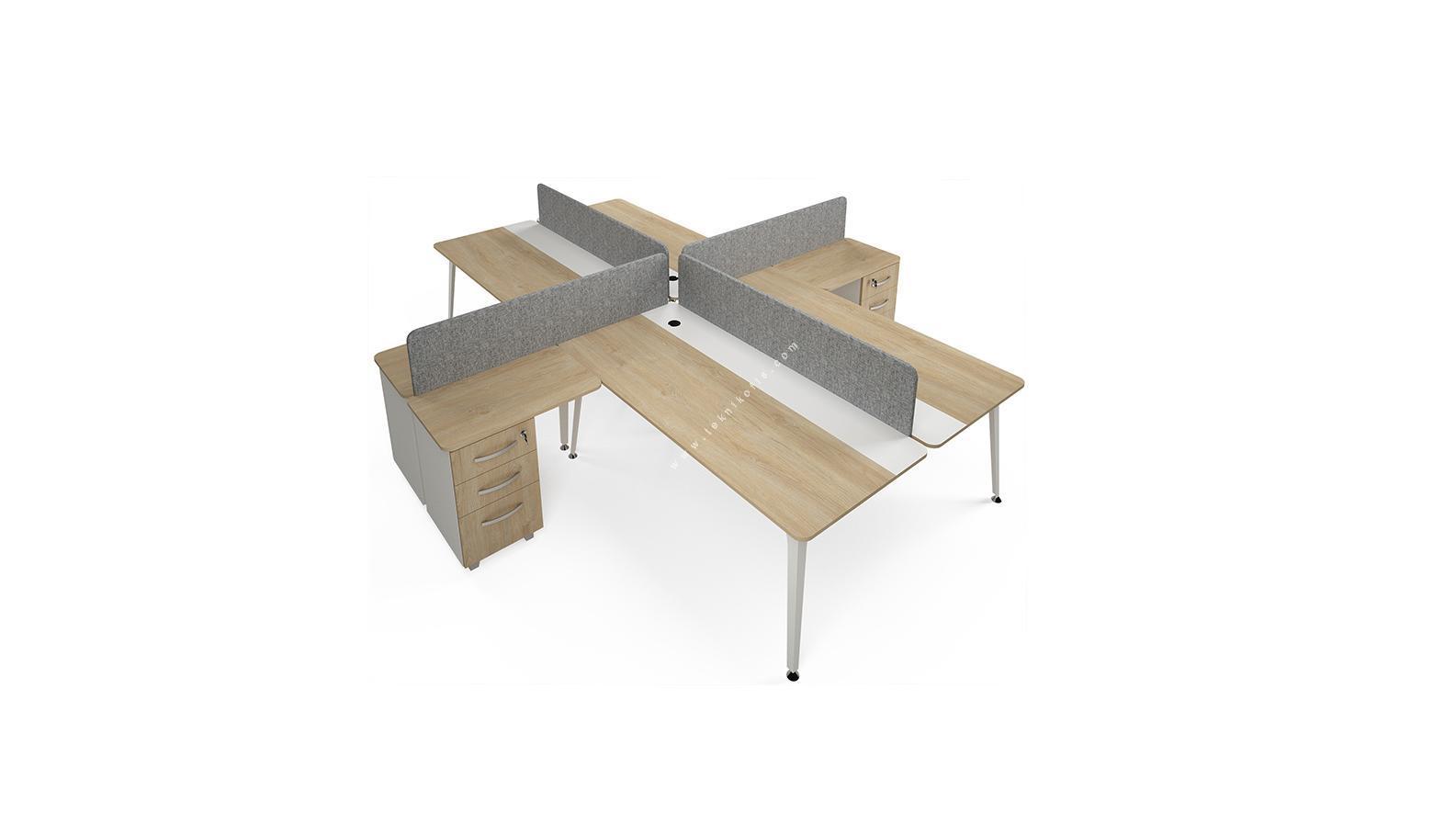 rediste kumaş seperatörlü etajerli dörtlü çalışma masası 362cm