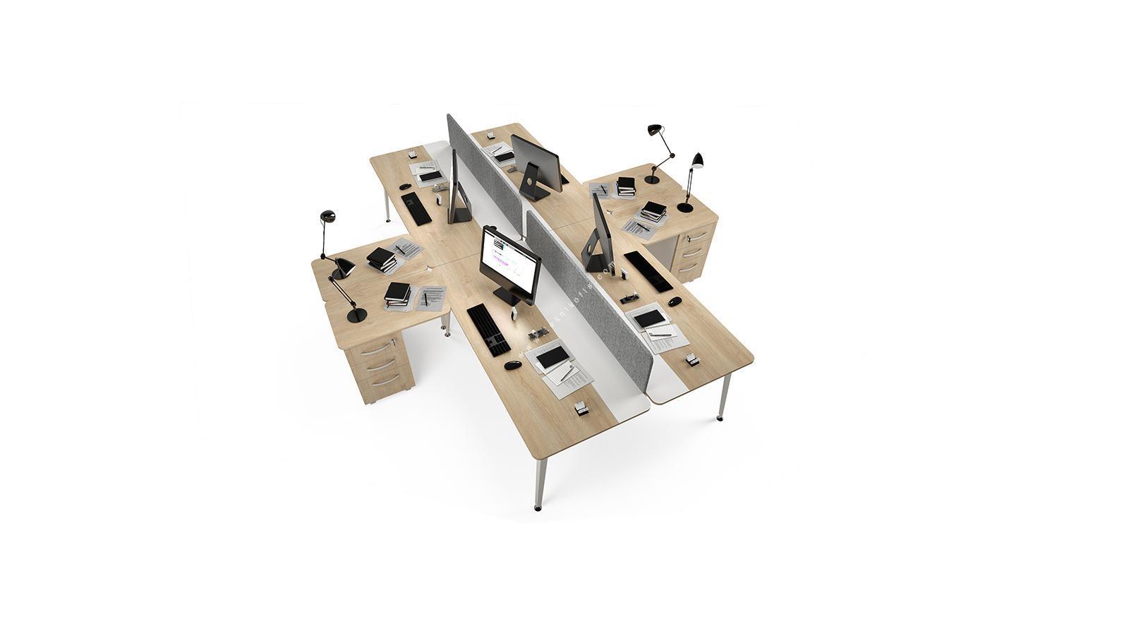 rediste kumaş seperatörlü kesonlu dörtlü çalışma masası 280cm