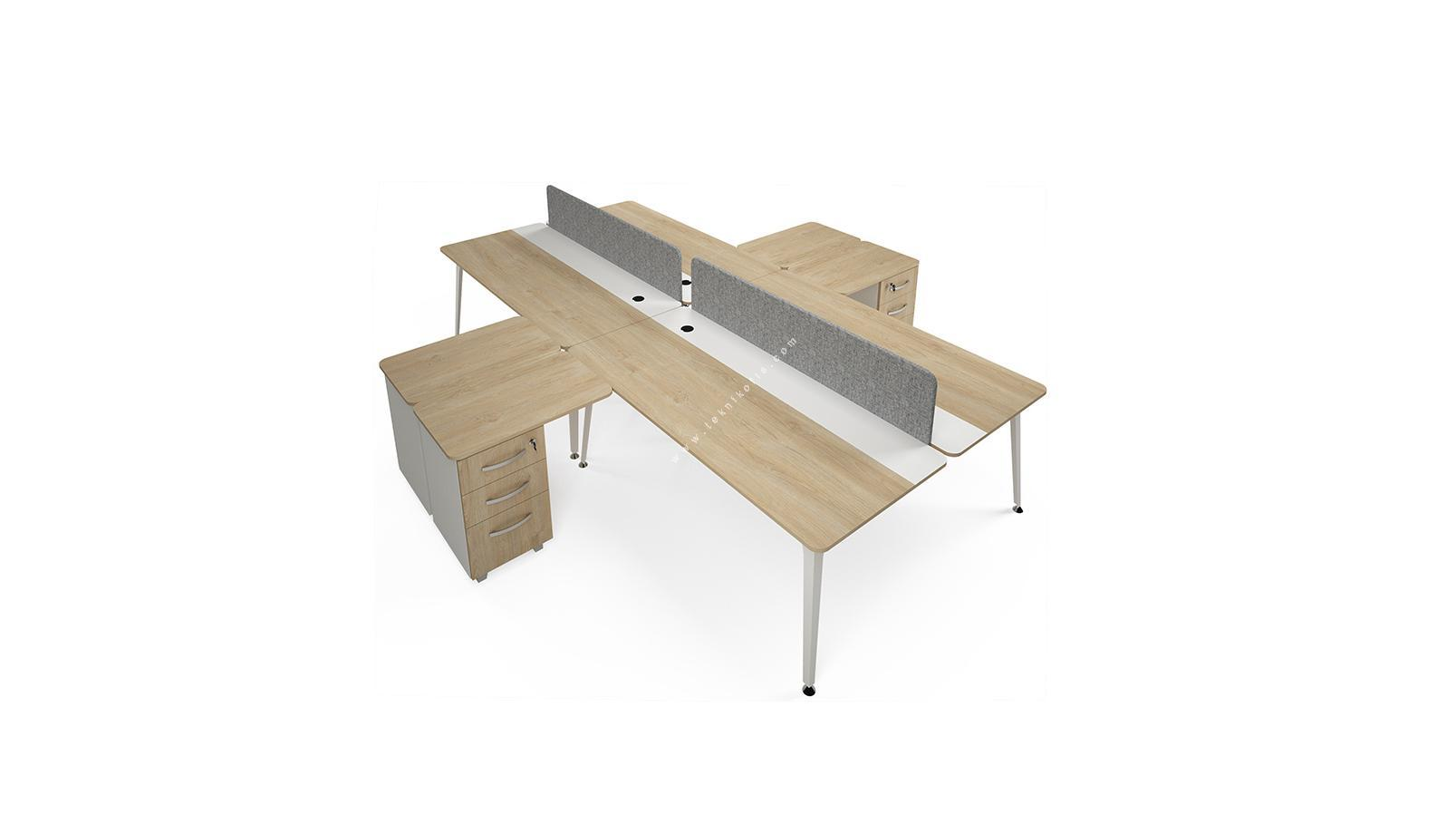 rediste kumaş seperatörlü kesonlu dörtlü çalışma masası 360cm