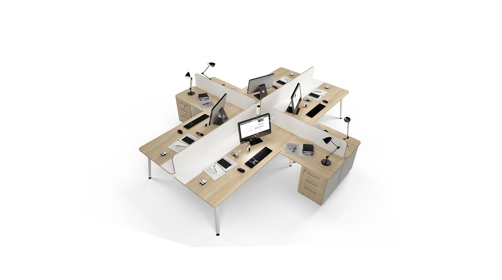 rediste melamin seperatörlü etajerli dörtlü çalışma masası 282cm
