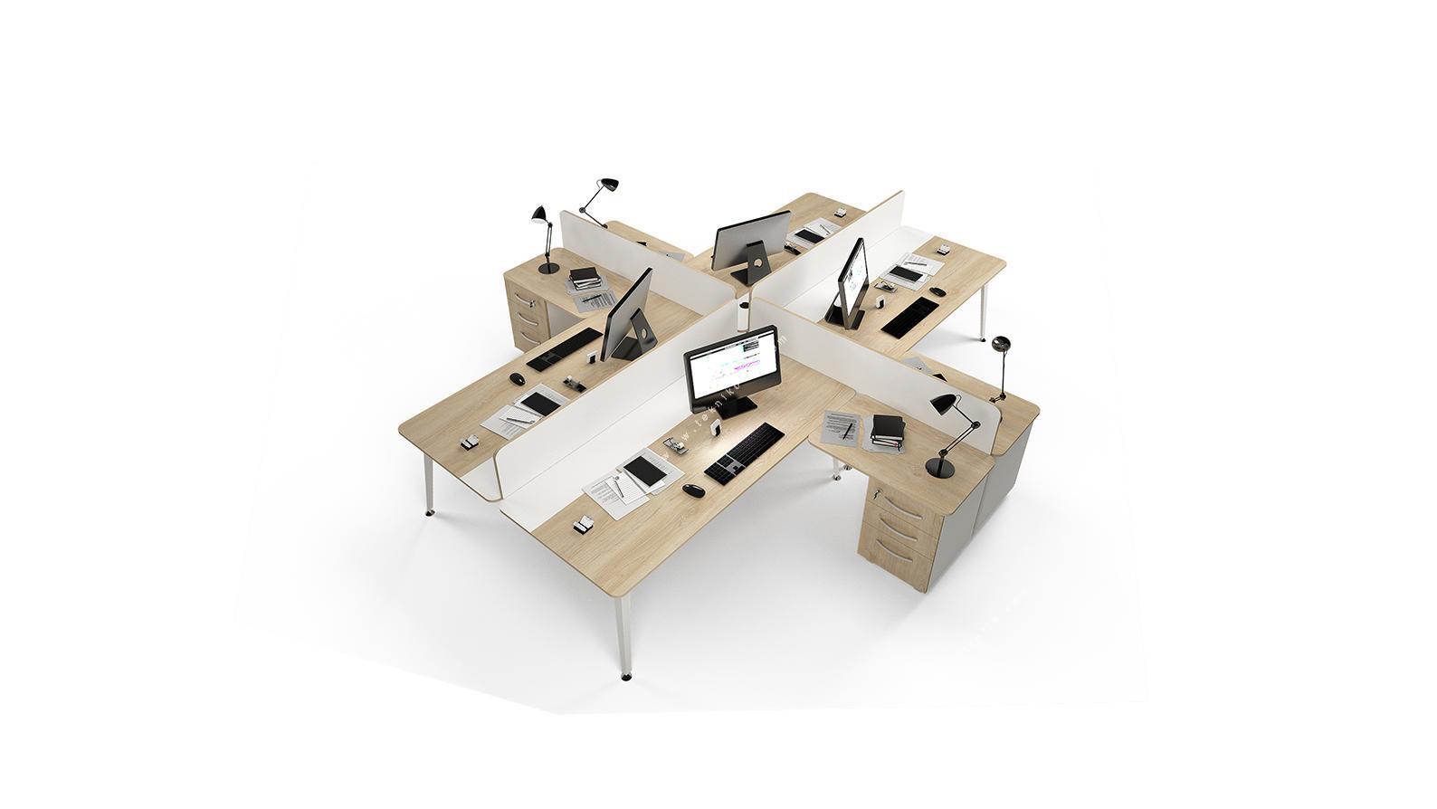 rediste melamin seperatörlü etajerli dörtlü çalışma masası 322cm