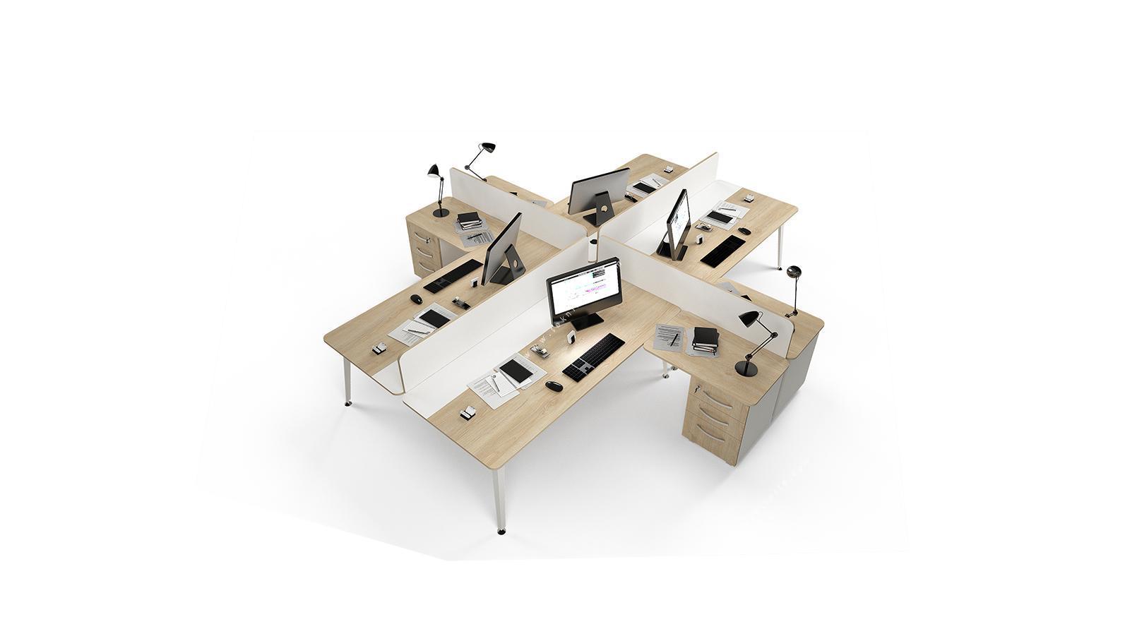 rediste melamin seperatörlü etajerli dörtlü çalışma masası 362cm