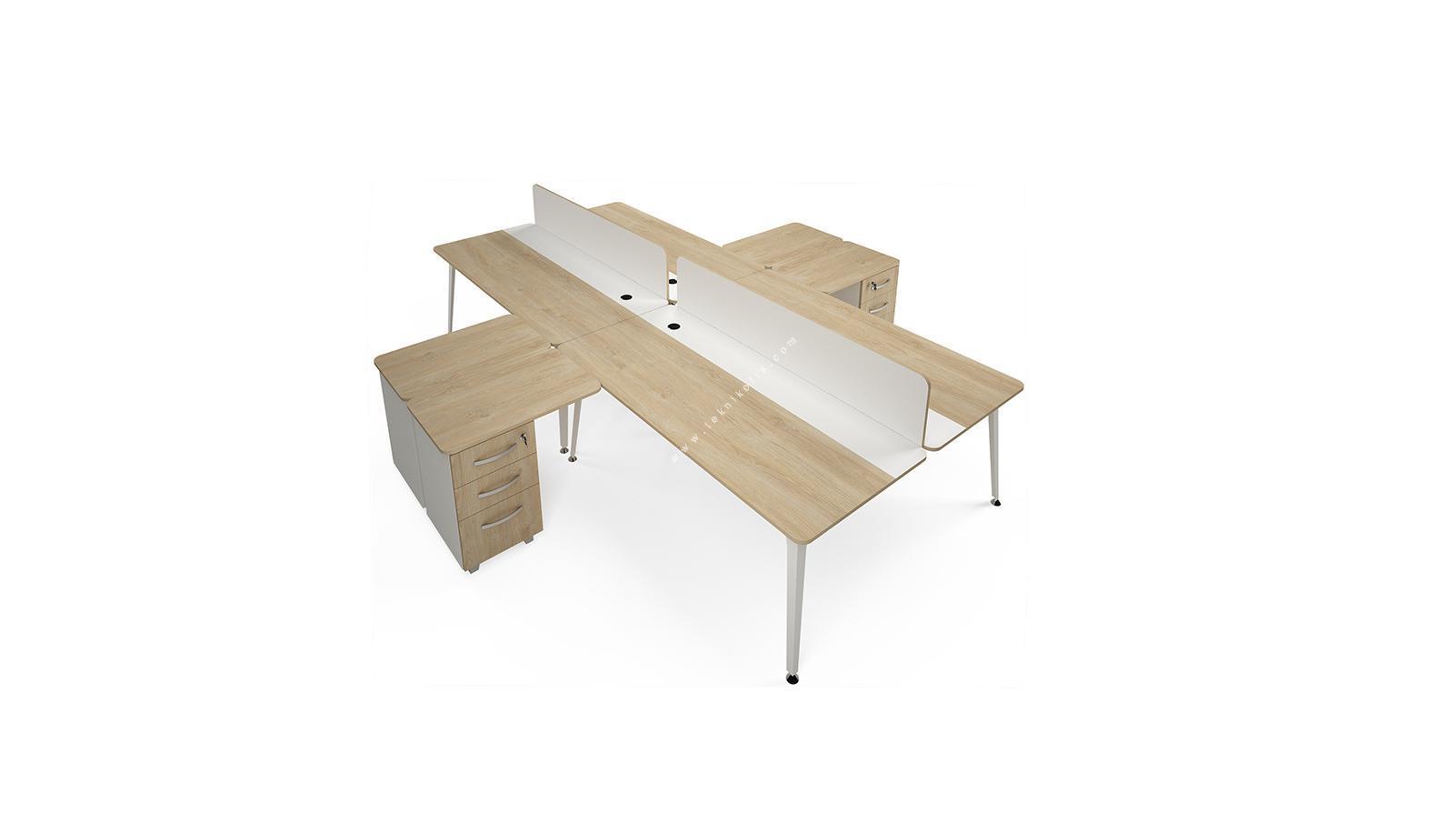 rediste melamin seperatörlü kesonlu dörtlü çalışma masası 280cm