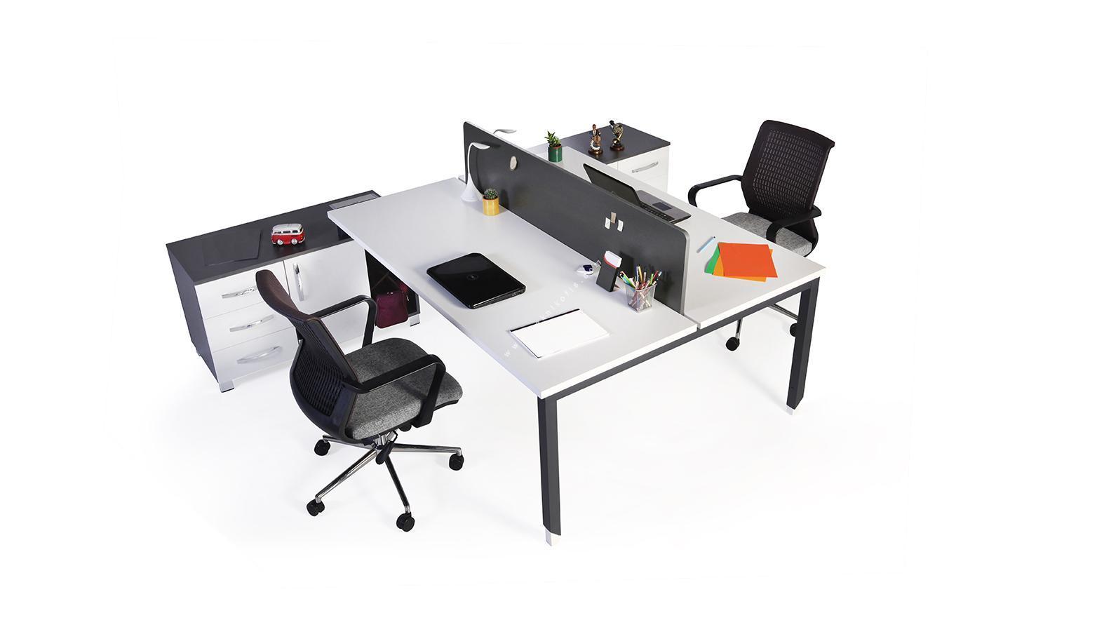 toung etajerli melamin seperatörlü ikili workstation 180cm